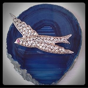 VTG 925 Sterl.Silver Bird Pendant Brooch PaveStone